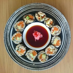 Brown rice and quinoa sushi