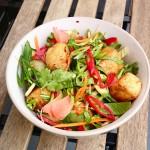 Puffed bean curd salad