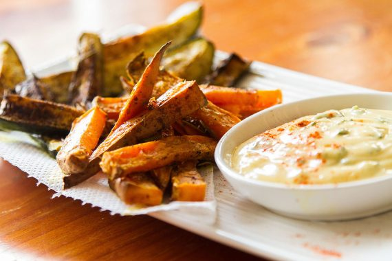 Sweet potato and zucchini chips with garlic aoli Jade Walker small 1